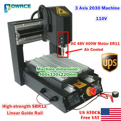 Usa3 Axis 2030 Desktop Engraving Milling Machine 110v Cnc Router400w Spindle