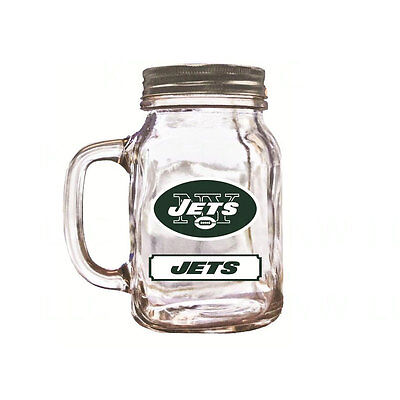 Brand New Duck House Sports NFL New York Jets 20oz  Glass Mason Jar / - Duck House New York Jets