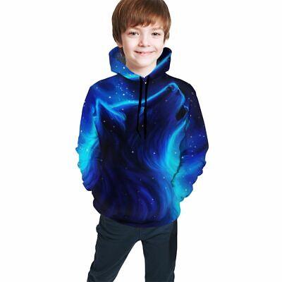 Diy Wolf Hoodie (Cool Wolf Blue Print Boys Teens Pullover Hoodies Casual Sweatshirt DIY)