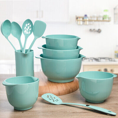 11pc Melamine Nesting Mixing Bowl Spoon Spatula Ladle Utensil Set Home Kitchen Nested Mixing Bowl Set