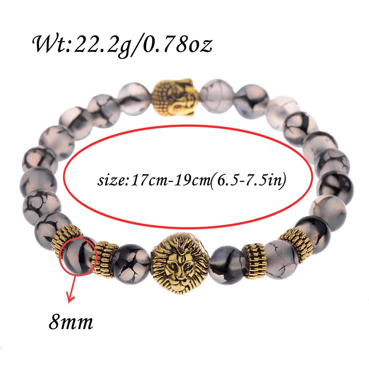1Pcs Men Women 8MM Gemstone Beaded Braided Bracelets Charm Fashion Jewelry Gift 7