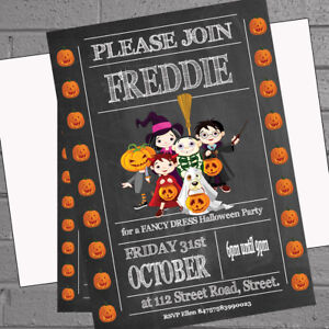 Halloween Party Invitations Personalised x 12 +envs Fancy Dress H1930