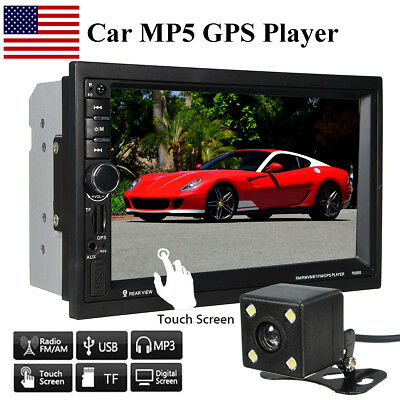 7'' Touch Stereo Car MP5 MP3 Player GPS Navigation bluetooth Head Unit HD Camera