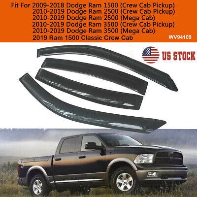 For 2009-2018 Dodge Ram 1500 2500 3500 Crew Cab Smoke Window Visors Rain Guards