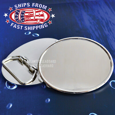 Polished Chrome Silver Oval Belt Buckle Blank - DIY (Chrome Oval Belt Buckle)