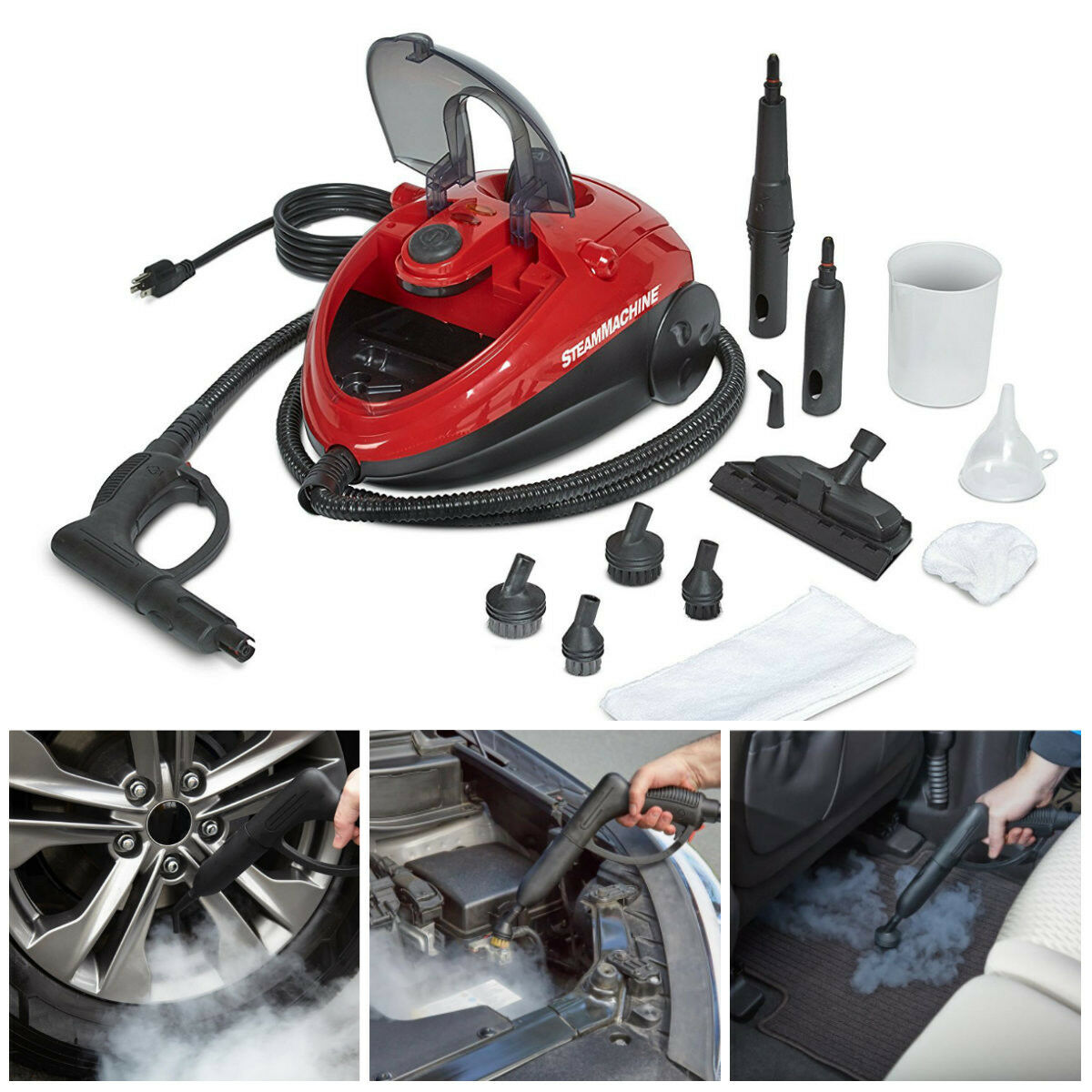 steam cleaner machine portable car care upholstery carpet floor handheld steamer ebay. Black Bedroom Furniture Sets. Home Design Ideas