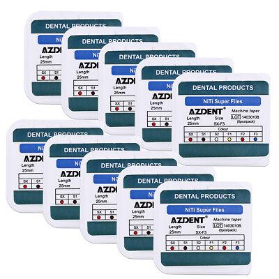 10x Azdent Dental Endo Pro Niti Taper Engine Use Super Rotary File Sx-f3 25mm