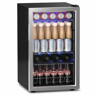 76 Can Beverage Refrigerator Cooler with Glass Door