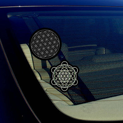 Home Decorative Mirrors Merkaba Leaf And Flower Of Life Sacred Geometry Decal Stickers Pack 3.75
