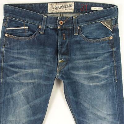Hommes replay m983 waitom ajusté straight blue jeans w31 l32