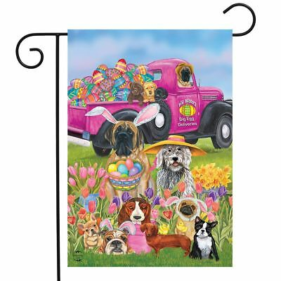 Easter Dogs Holiday Humor Garden Flag Decorated Eggs 12.5