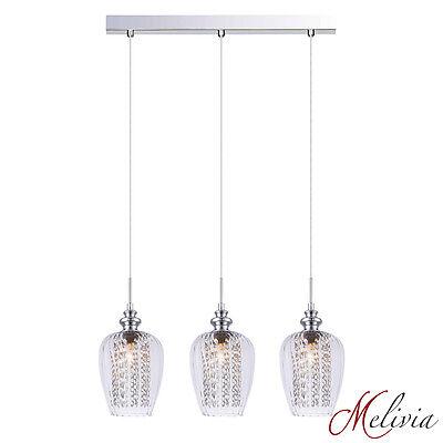 Hängelampe 58cm Pendelleuchte Glas Klar Deckenlampe Kristall 3x40W Leuchte Lampe ()