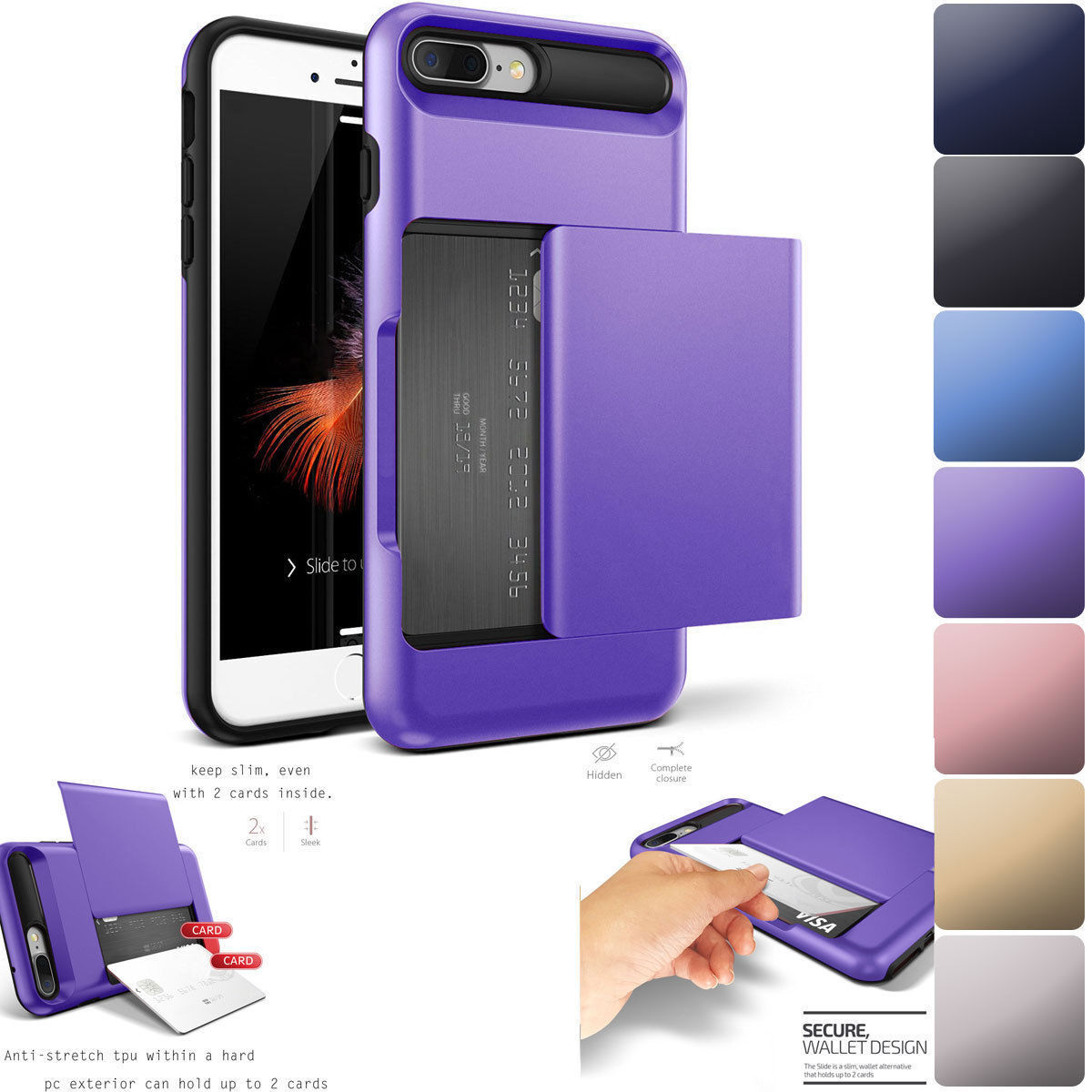 Fits Apple iPhone Case Protective Wallet ID Credit Card Hold