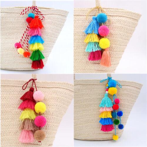 Colorful Tassel PomPom Charm Pendant DIY For Keychain Bag Ha