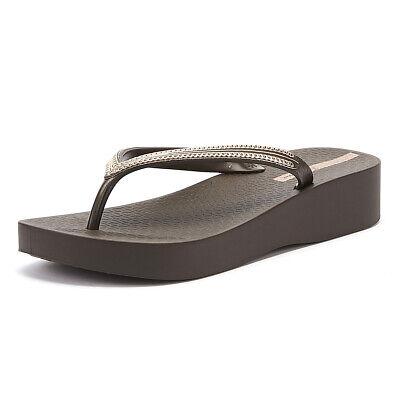 Ipanema Mesh Wedge 21 Womens Coffee / Rose Flip Flops Summer Beach Pool Shoes