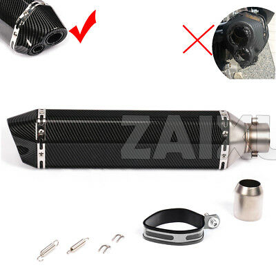 Universal Dual Outlet Scooter Exhaust Muffler Pipe Carbon Look Black 470mm 18.5""