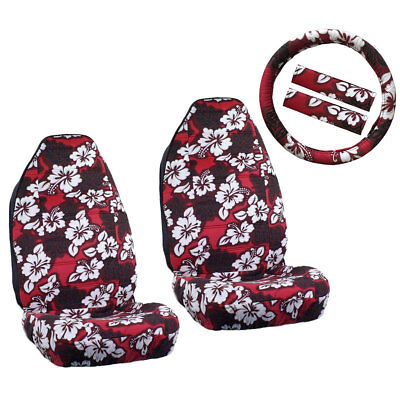 New Red Hawaiian Hibiscus Floral Car Front Seat Covers & Steering Wheel Cover
