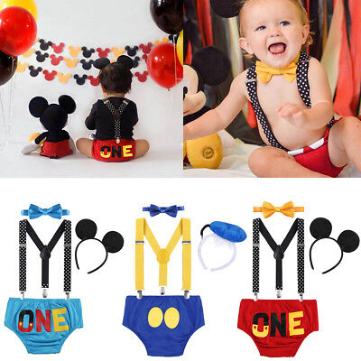 Toddler Baby Boy Birthday Suspenders Smash Cake Pants Mickey Mouse Outfits - Mickey Mouse Smash Cake