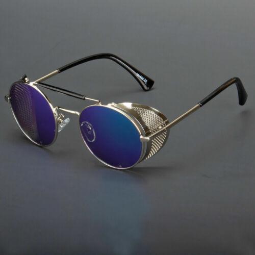 Black Vintage Retro Steampunk Gothic Side Shield Hipster Round Sunglasses Usa