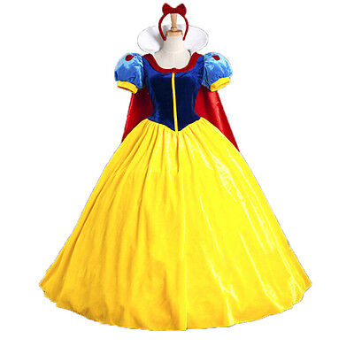Halloween Cosplay Fancy Dress Princess Snow White Costume for Adult w/ Petticoat - Costumes For Adults