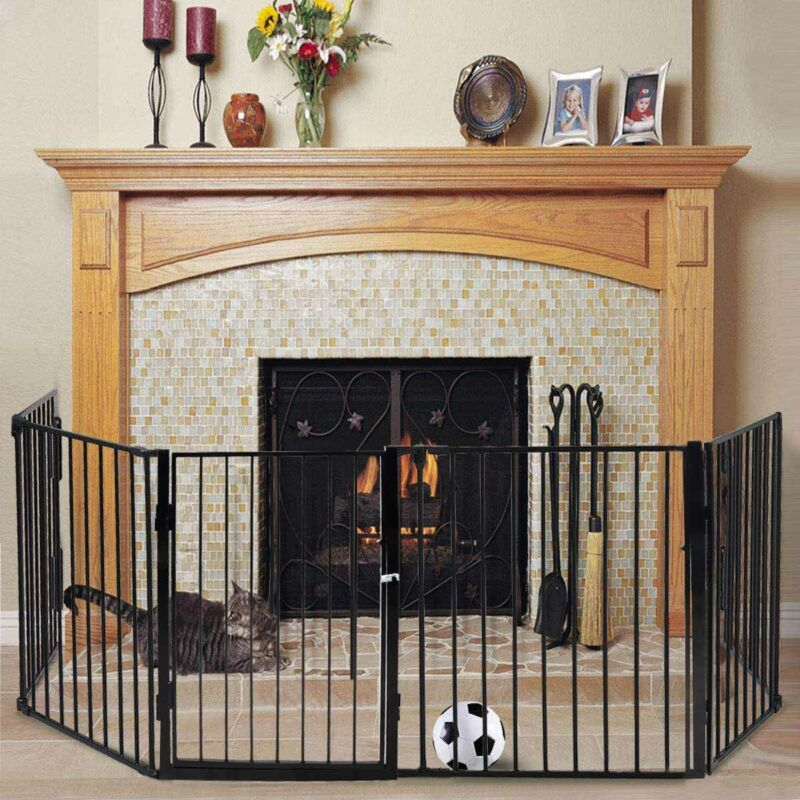 Fireplace Fence Baby Safety Fence Hearth Gate Pet Cat Full Steel Fire Gate BBQ