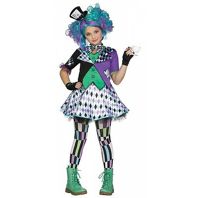 Mad Hatter Costume Kids Alice In Wonderland Halloween Fancy Dress