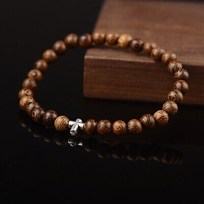 Men Natural Wood Silver Cross Beads Charm Beaded Elastic Women Bracelet Jewelry (Wood Natural Flatware)