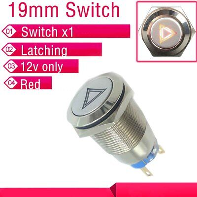 19 Mm Red Hazard Warning Light Metal Switch Emergency Button Switch