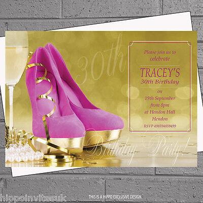 Personalised Ladies Pink Stilletto Golden Birthday Party Invitations x 12 H1124](Golden Birthday Invitations)