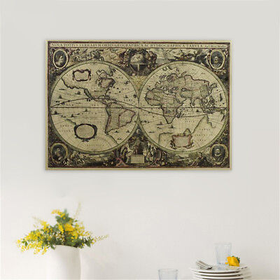 (1x Retro Old World Map Kraft Paper Poster Vintage Home Room Cafe Bar Wall Decor)