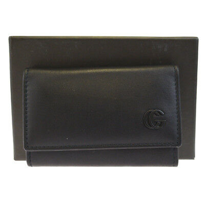 Authentic GUCCI GG Logos Six Hook Key Case Leather Black Made In Italy 05BF462