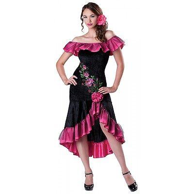Flamenco Dancer Costume Adult Spanish Senorita Halloween Fancy Dress