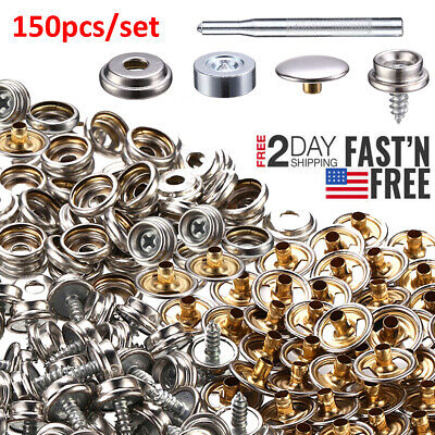 Fastener Boat Cover Stainless Steel Canvas Snap Repair Kit -150 Pieces SL Marine