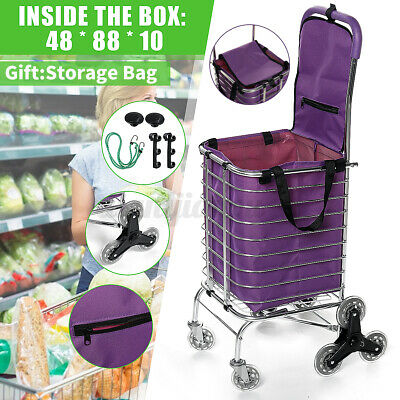 Folding Shopping Cart Trolley Grocery Basket Stair Climber W Storage Bag Rope