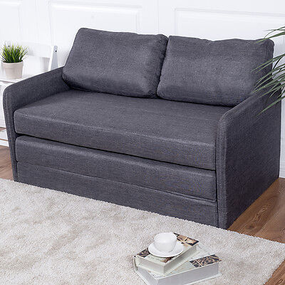 Foldable Sleeper Sofa Bed Divan Loveseat Customer Davenport Living Apartment Furniture Gray