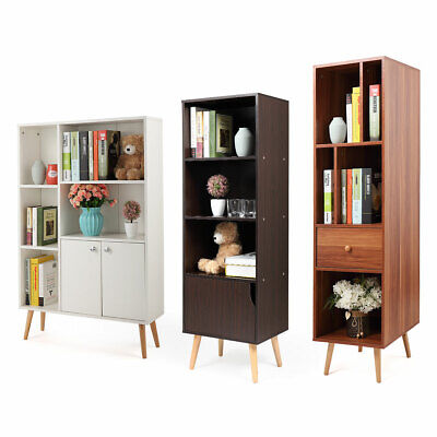 Durable Wood Bookcase Storage Shelving Book Wide Bookshelf Home Office Furniture