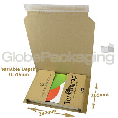 10 x C3 BOOK WRAP CARDBOARD POSTAL BOXES 280x205x70mm - RM LARGE LETTER SIZED
