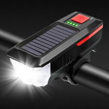 Solar Power Bicycle Headlights Ring Bell Light Waterproof Rechargeable Bike