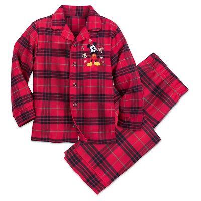 Disney Authentic Mickey Mouse Holiday Plaid PJ Pals Pajamas Boys Toddler Size 2 (Holiday Toddler Pajamas)