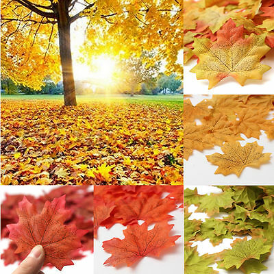 100pcs Fall Silk Leaves Wedding Party Favor Autumn Maple Leaf Decoration Set New - Fall Leaves Decorations