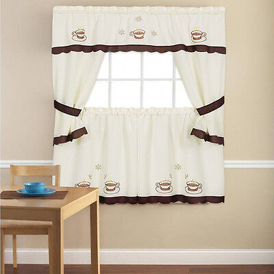 Embroidered Cuppa Joe 5 Piece Kitchen Curtain Cottage Set – 36″ or 24″ Curtains & Drapes