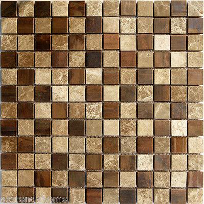 (10SF Emperor Marble Copper Metal Blends Mosaic Tile Kitchen Backsplash Spa Floor)