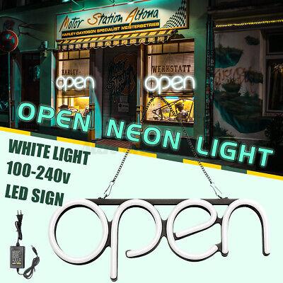 Led Open Sign Neon Light Business Shop Store Pub Horizontal Decorhanging Chain