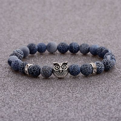 Natural Stone Weathering agate Silver Owl 8MM Beaded  Men's Bracelets Jewelry