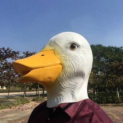 COOL Natural Latex White Duck Full Face Cosplay Prop Halloween Mask Helmet (Cool Halloween Latex Masks)