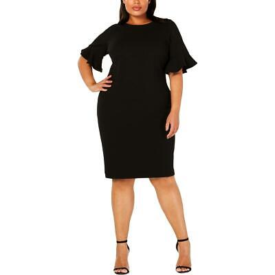 Calvin Klein Womens Black Ruffled Cocktail Party Sheath Dress Plus 20W BHFO 2295