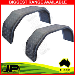 MUDGUARD-STEEL-CHECK-PLATE-PAIR-4-FOLD-10-WIDE-SUIT-15-WHEEL-TRAILER-BOAT