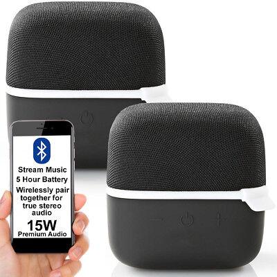 2x 15W Altavoz Bluetooth Kit -blanco- Verdadero Estéreo Inalámbrico Portátil