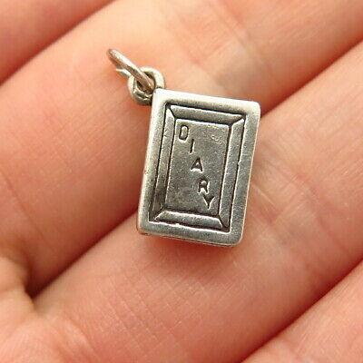 925 Sterling Silver Vintage Diary Design Charm Pendant