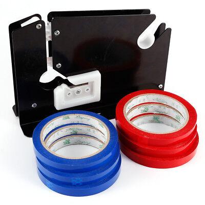 Supermarket Metal Trimming Blade Plastic Bag Neck Sealer Cutter 6 Rolls Tape